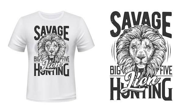 Illustration gravée de t-shirt de chasse au lion