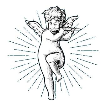 Illustration gravure bébé cupidon