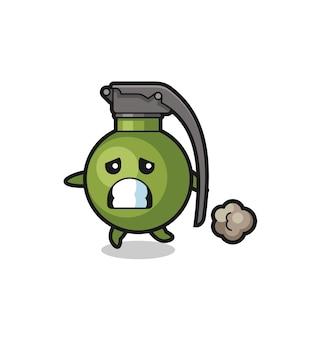Illustration de la grenade qui court dans la peur, design de style mignon pour t-shirt, autocollant, élément de logo