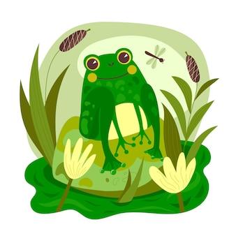 Illustration de grenouille adorable plat organique