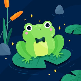 Illustration de grenouille design plat mignon