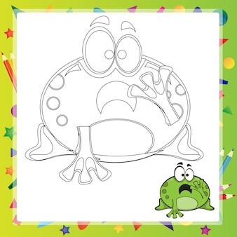 Illustration de grenouille de dessin animé - livre de coloriage - vecteur