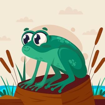 Illustration de grenouille de dessin animé mignon