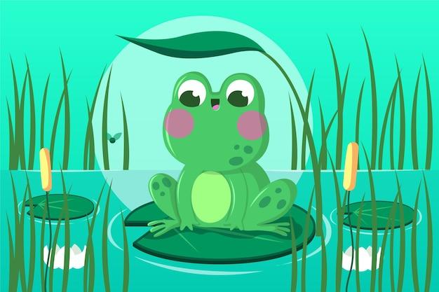Illustration de grenouille plate organique
