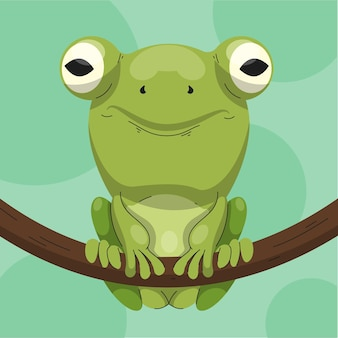 Illustration de grenouille plate organique