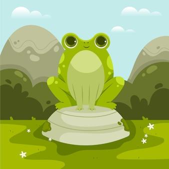Illustration de grenouille smiley dessin animé