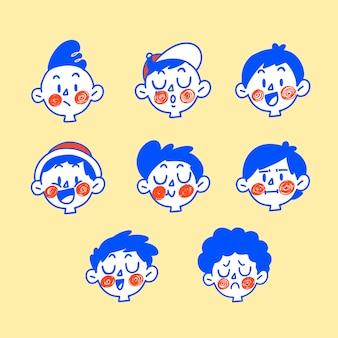 Illustration de griffonnage d'expression de garçons