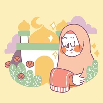 Illustration de griffonnage de joyeux ramadan de vecteur premium adorable