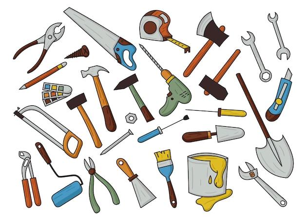 Illustration de griffonnage d'outils d'artisan