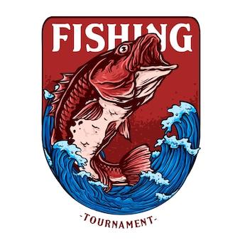 Illustration de gros poissons de basse ou de vivaneau rouge pour le logo d'insigne de tournoi de pêche