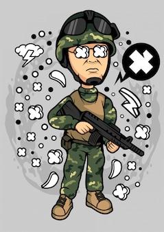 Illustration de grosse tête militaire