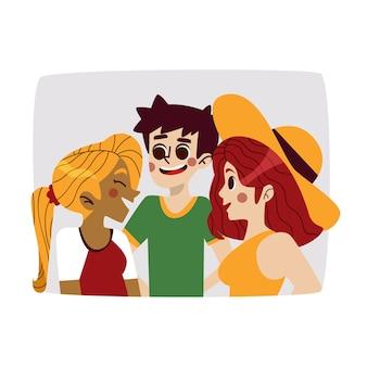 Illustration avec un groupe de conception de personnes