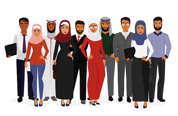 Illustration, de, groupe, homme femme, gens affaires, debout, ensemble, dans, vêtements traditionnels