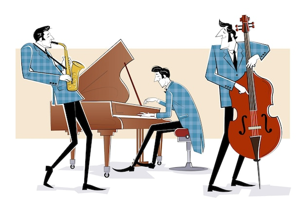Illustration d'un groupe de jazz avec contrebasse, saxophon et piano