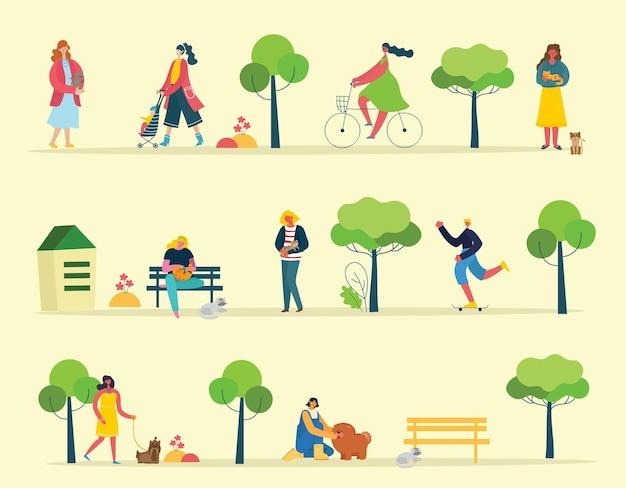 Illustration d'un groupe de personnes marchant dans le parc dans un style plat