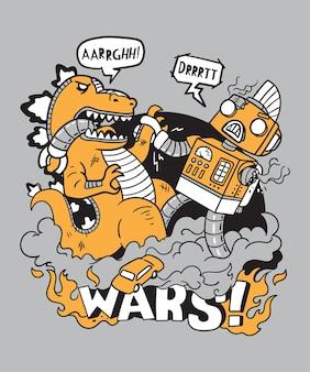 Illustration guerres monstre vs robot doodle