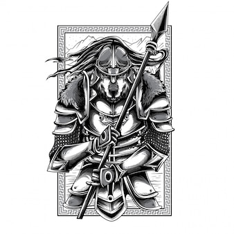 Illustration de guerrier husaria noir et blanc