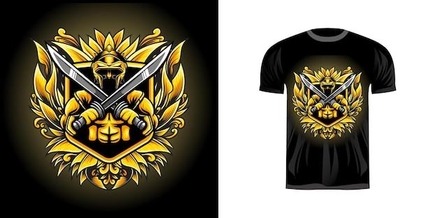 Illustration guerrier avec ornement de gravure pour la conception de tshirt