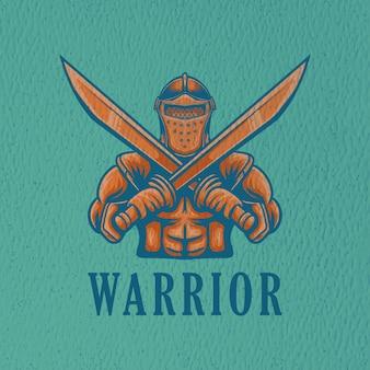 Illustration de guerrier rétro pour le caractère du logo et la conception de t-shirt