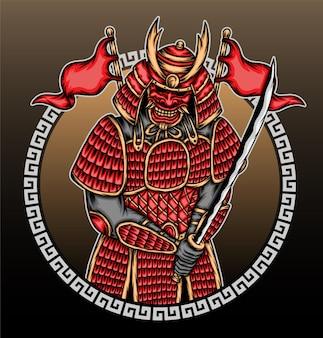 Illustration de guerrier samouraï.