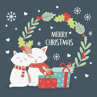 Illustration de guirlande de boîtes de cadeau de chats