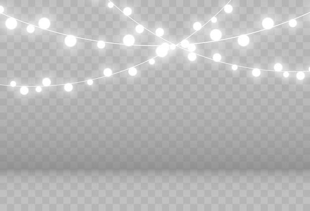 Illustration d'une guirlande lumineuse sur fond transparent.
