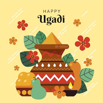 Illustration de guirlande plate ugadi