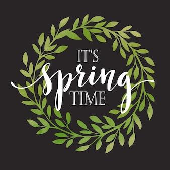 Illustration de guirlande de printemps floral sur fond de tableau noir