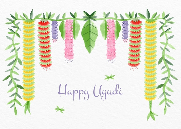 Illustration de guirlande ugadi aquarelle