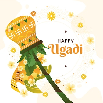 Illustration de guirlande ugadi dessinée à la main