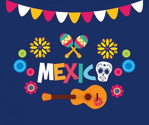 Illustration de guitare et de crâne mexicain, point de repère du tourisme culturel au mexique illustration latine et fête