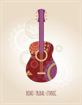 Illustration de guitare ethnique tribal bohème