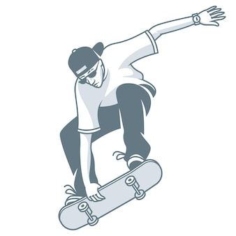 Illustration, guy fait sauter sur skateboard, format eps 10