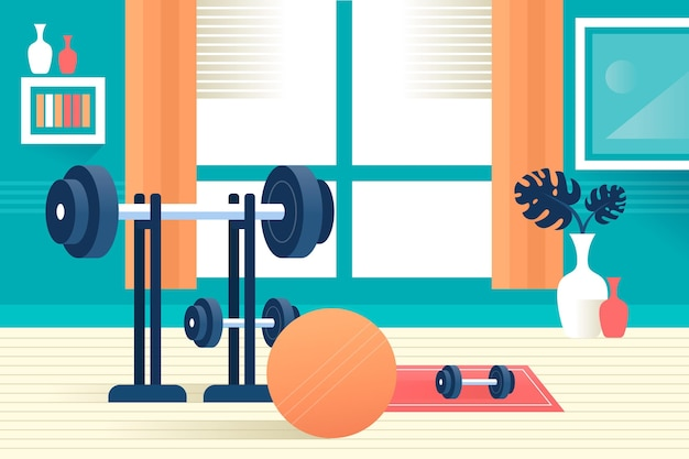 Illustration de gym à domicile dégradé