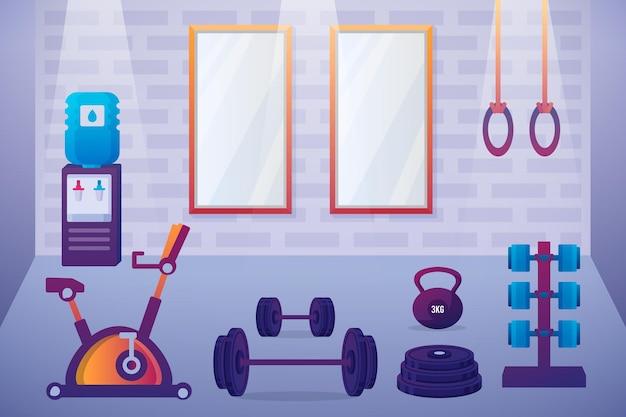 Illustration de gym à domicile dégradé