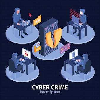Illustration de hacker isométrique