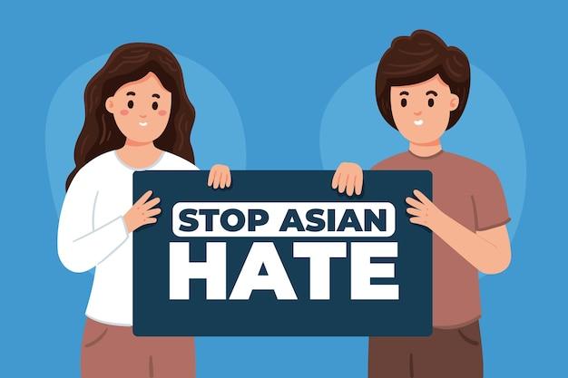 Illustration de haine asiatique d'arrêt plat organique