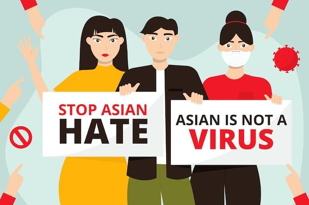 Illustration de la haine asiatique arrêt plat