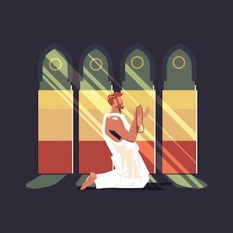Illustration de hajj ou omra avec le personnage de prier et le concept de la mecque