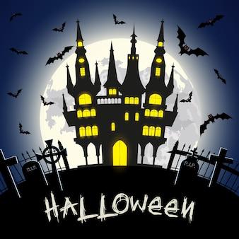 Illustration D'halloween Avec Château, Tombe Et Chauves-souris Sur Fond De Pleine Lune. Illustration Vectorielle Vecteur Premium