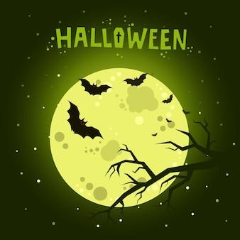 Illustration d'halloween. chauves-souris volant dans la nuit avec une pleine lune sur fond vert foncé.