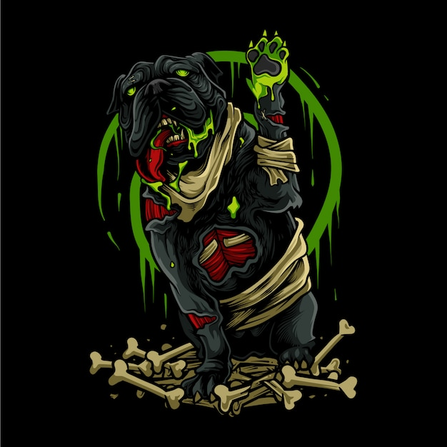 Illustration de halloween chien zombie