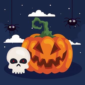 Illustration d'halloween heureux avec citrouille, crâne de tête et araignées