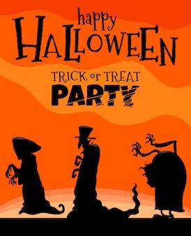 Illustration d'halloween avec des monstres