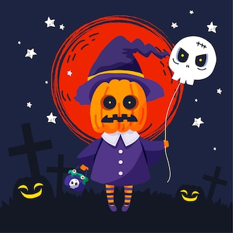 Illustration d'halloween plat dessiné à la main