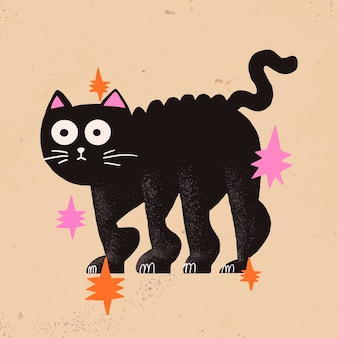 Illustration D'halloween De Vecteur De Chat Noir De Dessin Animé Vecteur gratuit