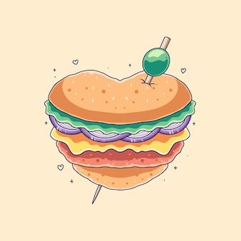 Illustration de hamburger d'amour mignon dessiné à la main