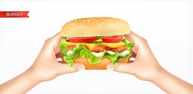 Illustration de hamburger dans les mains