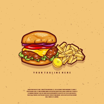 Illustration de hamburgers et frites premium