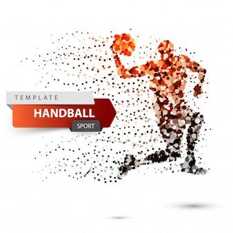 Illustration de handball sur fond blanc.